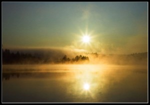 Раннее утро на запруде небольшой речки, притока р. Дубна, что в тридцати километрах за Сергиевым Посадом в направлении на Калязин, рядом дер.Ваулино и Новая Шурма.